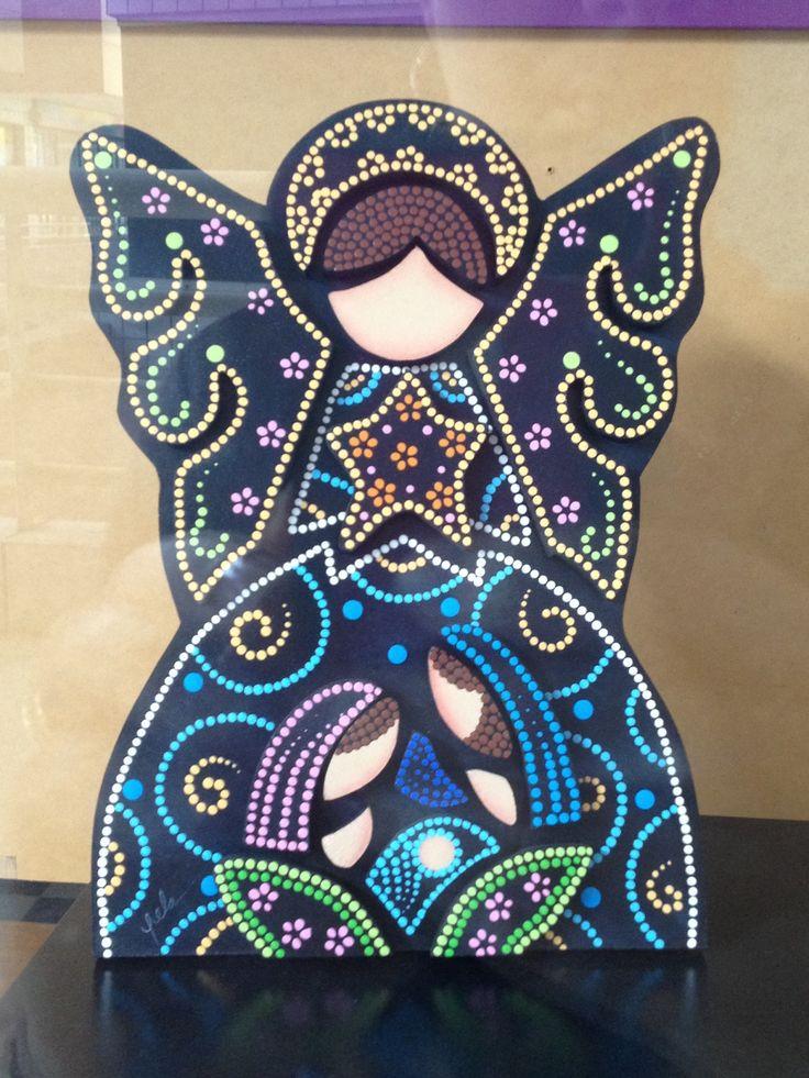 Pesebre puntillismo de Carolina VP...black painted cardboard with colored glue dots