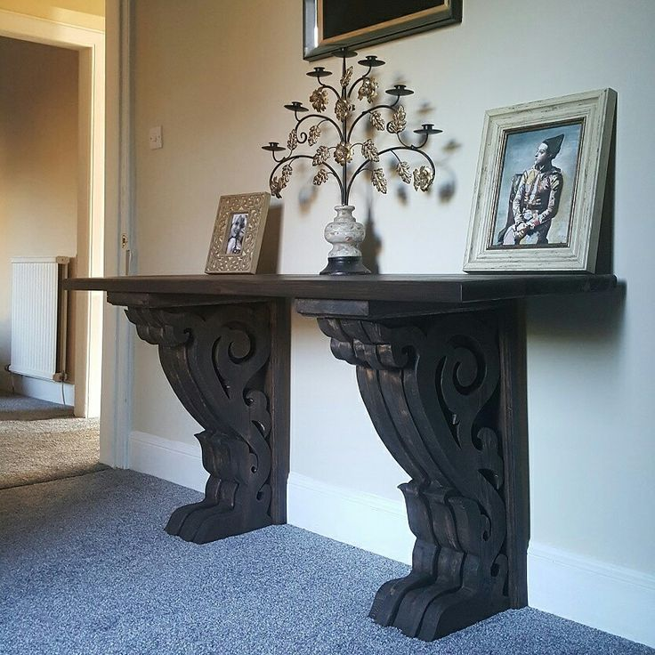 Gothic Victoriana rustic table used as a desk  Made by PLP Woodworks  This corbel desk was custom made for a client.