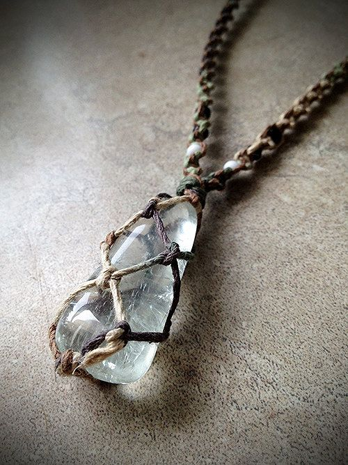 Prasiolite Crystal Hemp Necklace  Really want to learn how to make the net that holds the crystal!