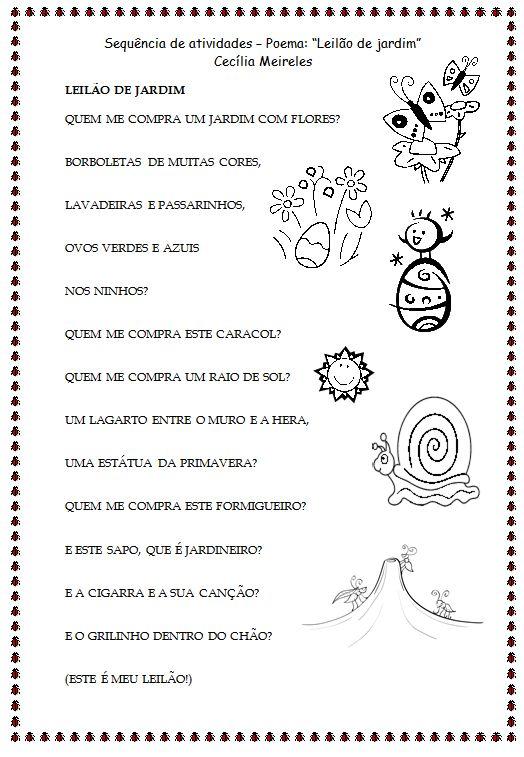 """Aprender pela experiência: Sequência de atividades de alfabetização - Poema """"Leilão de Jardim"""" de Cecília Meireles"""