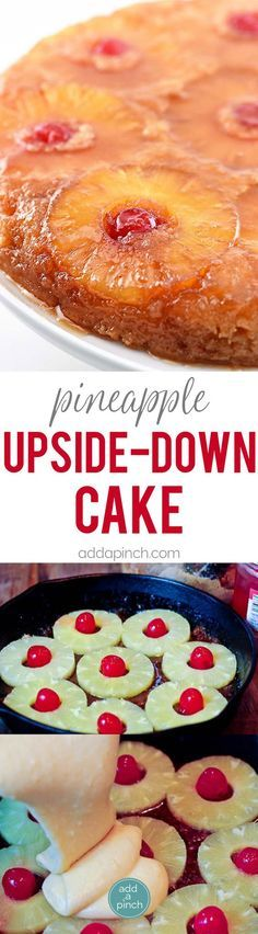 Pineapple Upside Down Cake Recipe - Pineapple Upside Down Cake makes a timeless dessert. Topped with a signature pineapple and cherry topping, this pineapple upside down cake is a southern classic. // addapinch.com