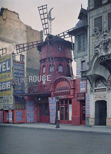 Le Moulin Rouge, Boulevard de Clichy, Paris, 24 June 1914, Stéphane Passet, public domain via Wikimedia Commons.