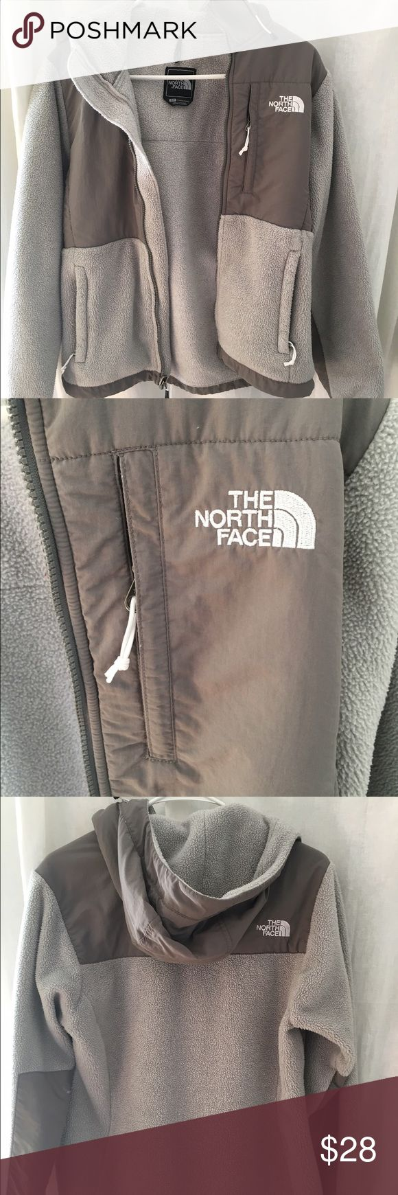 Grey, zip up fleece North Face, size small, good condition, grey zip up fleece North Face Tops