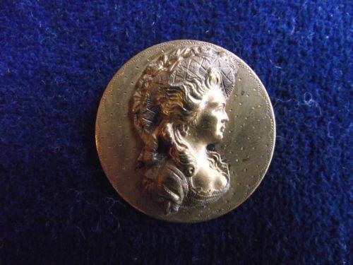 Antique relief Brass Georgiana Duchess Devonshire Picture BUTTON NR