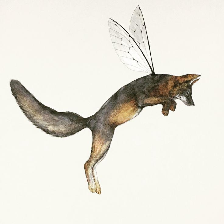 Island Fox #art #illustration #fox #flyingfox #animal #nature #metallic #paint