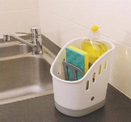 Sink Caddy, Declutter your sink and keep, cleaning utensils in one place! #magnamail #storagesolution