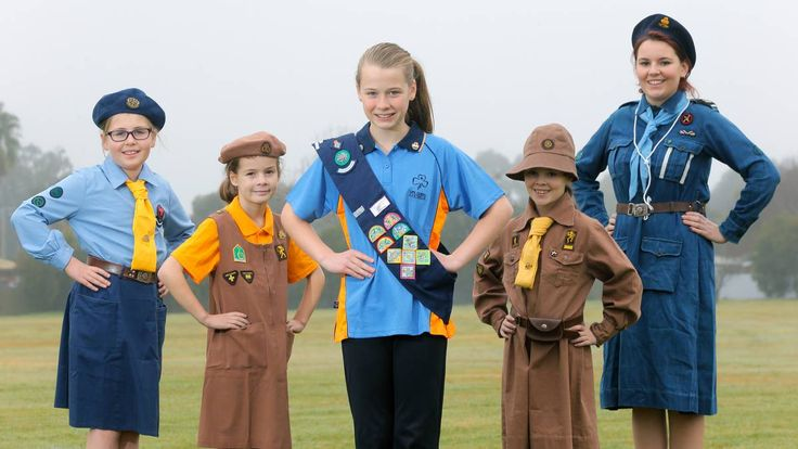 The modern Girl Guides Australia uniforms are a stark contrast to those of yesteryear. Picture: TARA GOONAN
