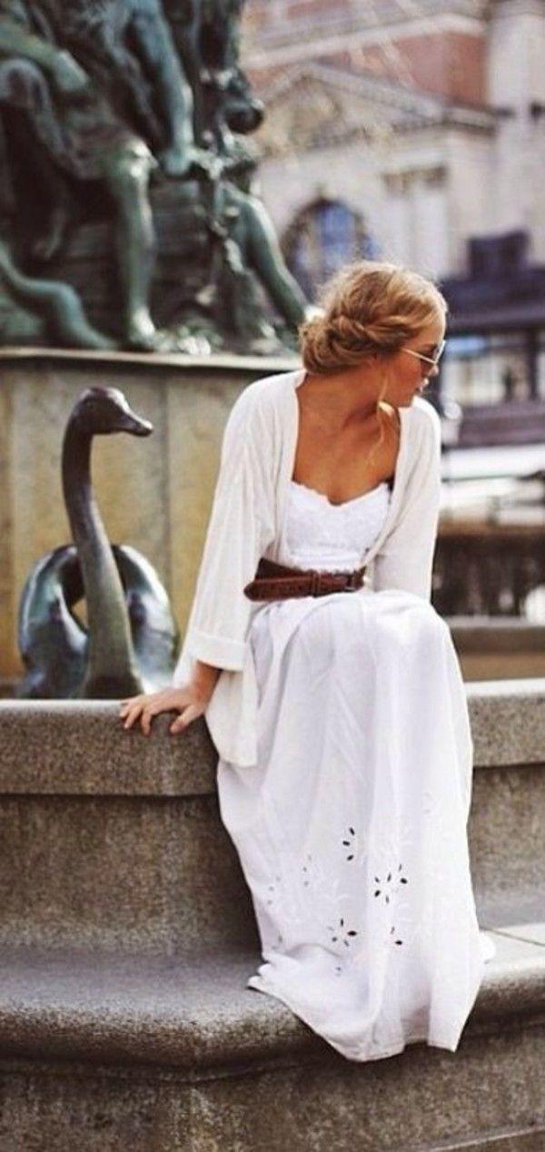 Shining white eyelet maxi dress