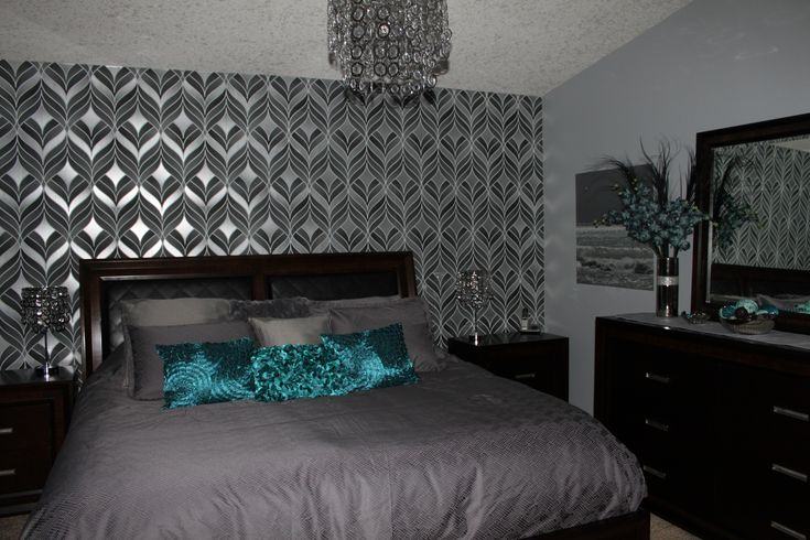 Silver And Teal Bedroom Teal Silver Bedroom Pinterest