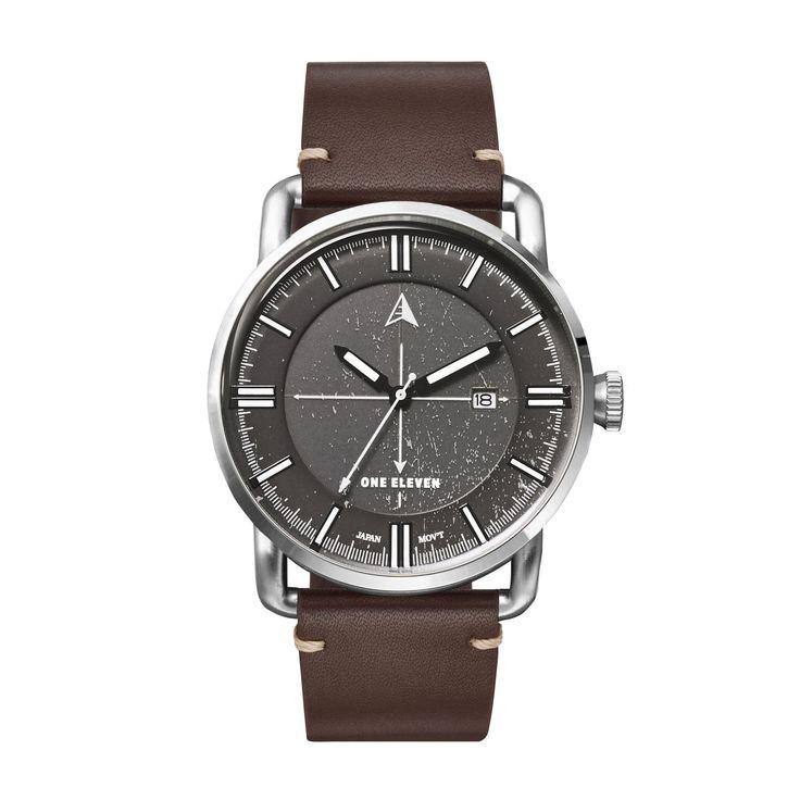 SW1 Solar 3-Hand Dark Brown Leather Watch