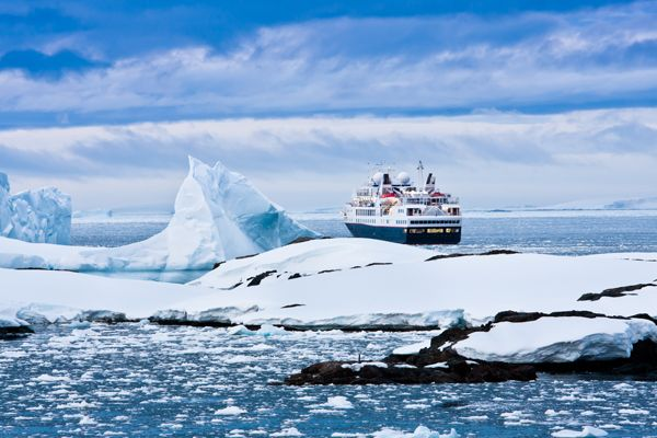 #Antarctica - Big cruise ship in Antarctica water.