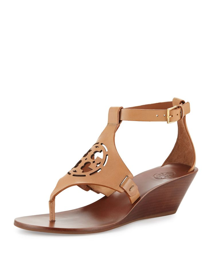 Tory Burch Woman Embellished Striped Leather Wedge Sandals Size 9.5 Popular New Arrival Sale Online Low Shipping Fee Free Shipping The Cheapest uSW5AR