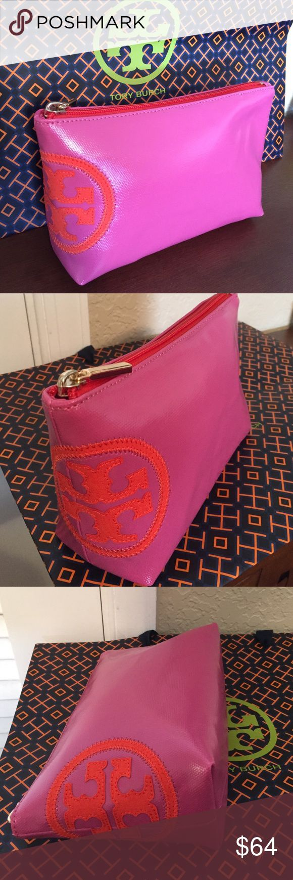 "🆕Tory Burch ""Beach Dipped"" slouchy Cosmetic case. Sooo cute this Coated Canvas cosmetic case is in Fiesta (Hot Pink) and Poppy Red. Inside has matching jacquard lining and slip pocket. Lots of room to hold all your beauty essentials. On the outside has the Double-T canvas logo that wraps around the side in contrasting color. Top zipper color matches side Double-T logo. Gold hardware. Approximate measurements: 9"" L x 5"" H x 3"" D. New, never used, with tag... Tory Burch Bags Cosmetic Bags…"