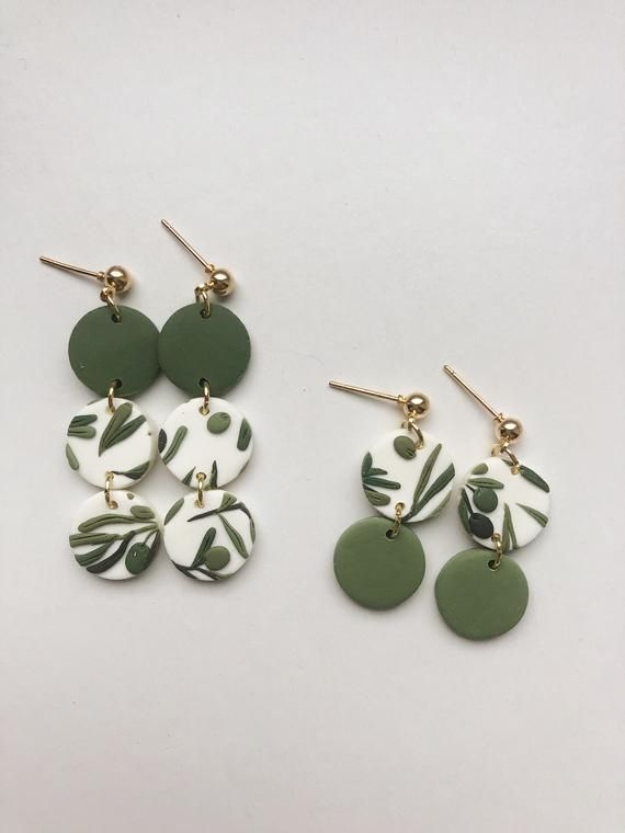 Green Marbled Polymer Clay Stud