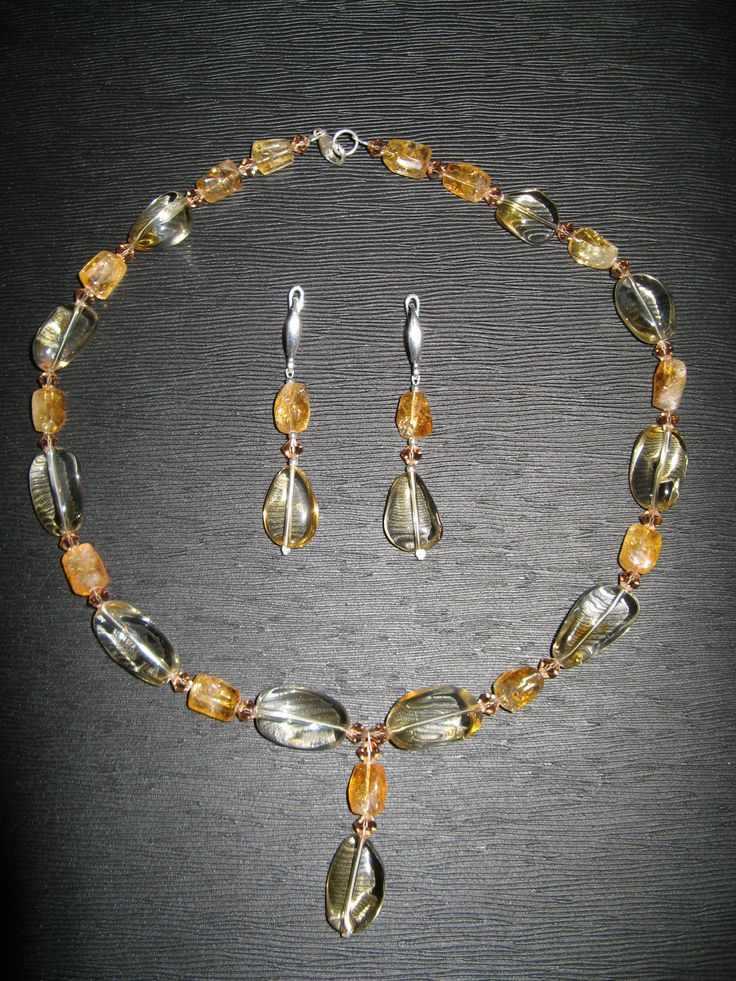 Citrine and rock crystal necklace