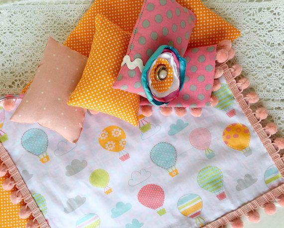 """Hot air balloon american girl doll bedding, 18"""" doll bedding, american girl bedding, american girl furniture, doll accessories, pink bedding"""