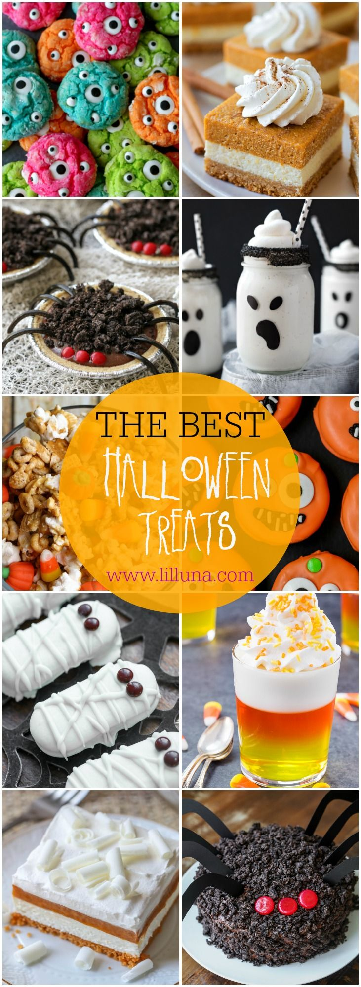 The 50 BEST Halloween Treats for your to make - so many great ideas! All the gooey monster cookies, pumpkin desserts, ghostly shakes, graveyard dirt cake, mummy cookies, cupcakes, etc.