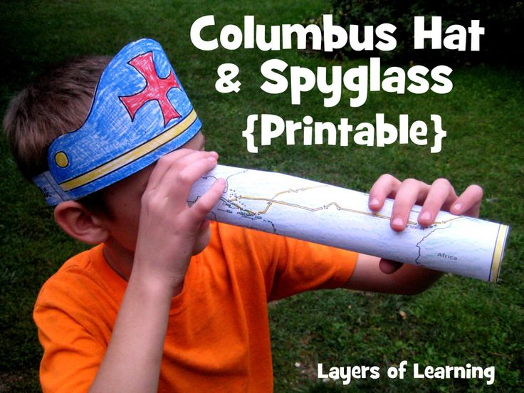 """FREE Printable Columbus Hat & Spyglass -- for Columbus Day. The hat has a Christian cross and the words """"In 1492 Columbus Sailed the Ocean Blue"""". The spyglass is actually a map of Columbus' route."""