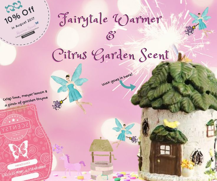 August Scent & Warmer of the Month! Fairytale Cottage - From a lush, leafy roof to the tree-trunk detailing, Fairytale Cottage offers a storybook escape. Citrus Garden Scent - Crisp lime, Meyer lemon and a pinch of garden thyme. Get them at maximoscent.com