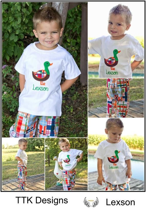 Boys Fall Duck Shirt with Optional Pants,Appliqué Embroidered Shirt