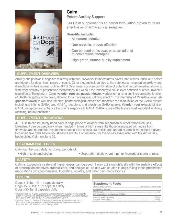 JustFoodForDogs Calm Supplement Fact Sheet