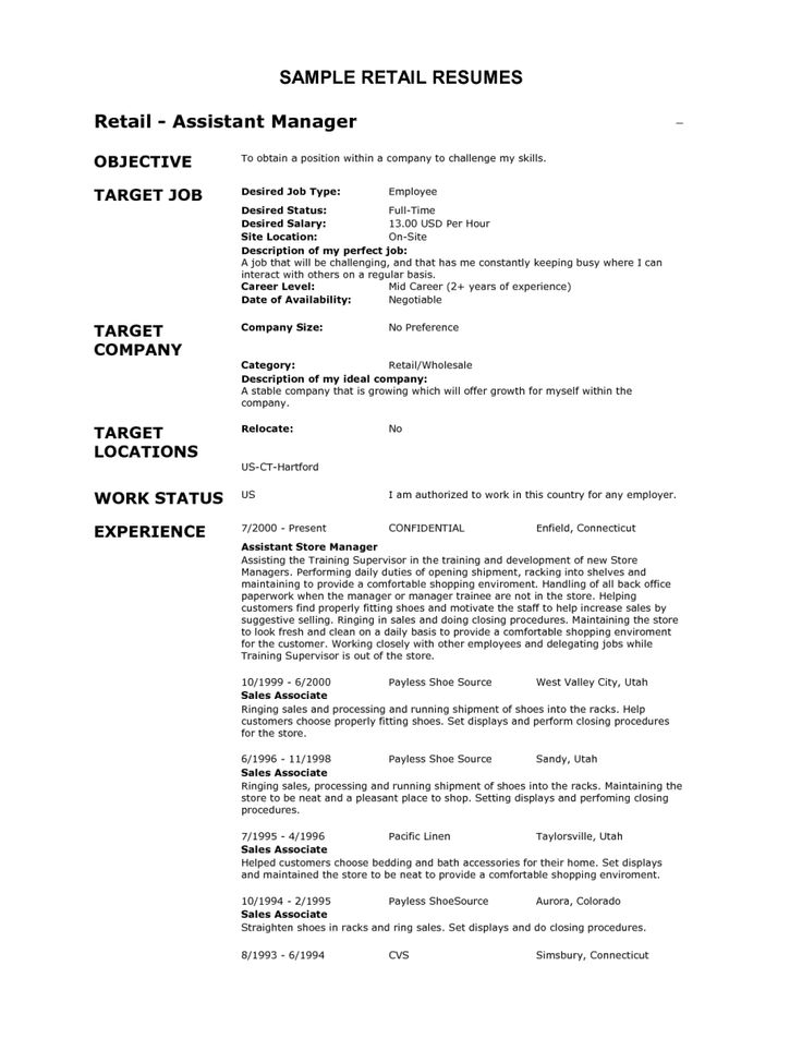 Retail Job Description For Resume 25 Best Resume Images On Pinterest  Basic Resume Examples Free