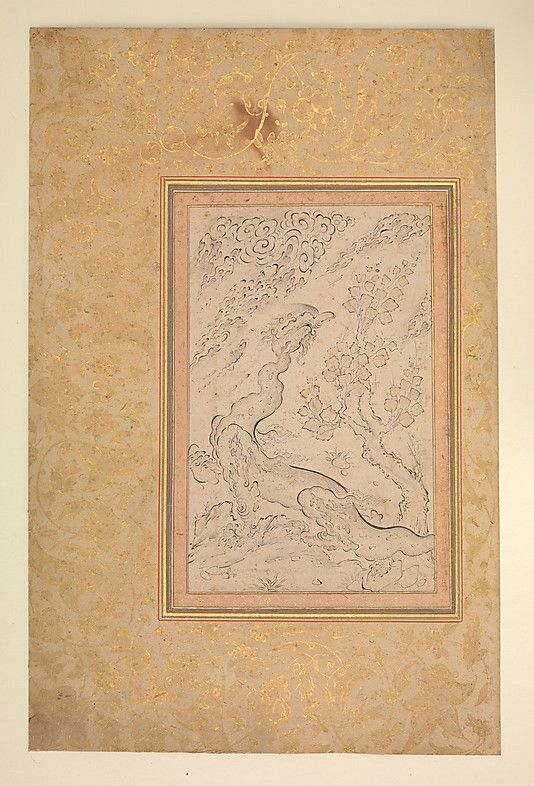 Dragon and Clouds Attributed to Sadiqi Beg  (1533/34–1609/10) Date: ca. 1600 Geography: Iran Medium: Ink and watercolor on paper Dimensions: Painting: H. 7 1/2 in. (19.1 cm) W. 4 3/4 in. (12 cm) Page: H. 14 1/8 in. (35.9 cm) W. 9 3/16 in. (23.3 cm) Mat: H. 20 1/2 in. (52.1 cm) W. 16 in. (40.6 cm) Mewtropolitan Museum of Art 2010.309