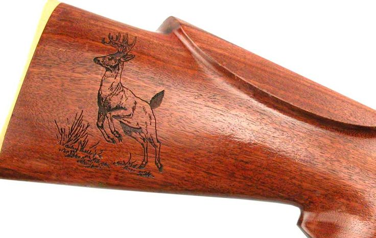 Laser Etched Gun Stock. Class up your arsenal with depictions of your prey.