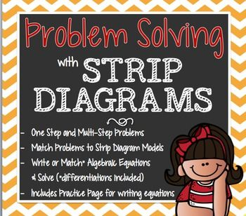 Help your students make sense of STRIP DIAGRAMS! This pack includes word problems (one-step and multi-step) that students will match to a Strip Diagram Model. Once matched, the students will use the Strip Diagram to write* and Algebraic Equation. *If students are struggling with writing Algebraic Equations, I have included the equations written out so students can match then instead of writing them :) ALSO INCLUDES a Strip Diagram & Algebraic Equation practice page (no word ...