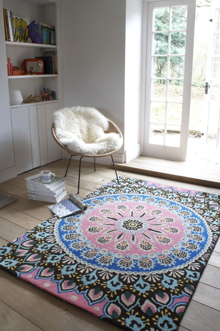 Gorgeous blue and pink colourful Nomadic rug