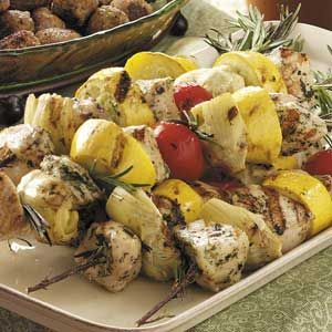 Rosemary-Skewered Artichoke Chicken Recipe from Taste of Home -- shared by Lisa White of San Diego, California