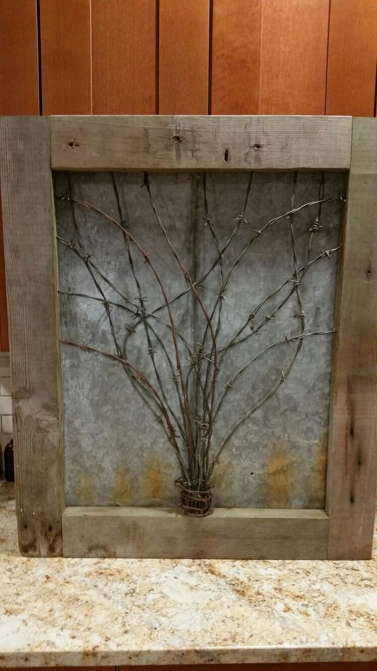 barbwire, barbed wire, barn wood, art, tree, rusty roofing, reclaimed