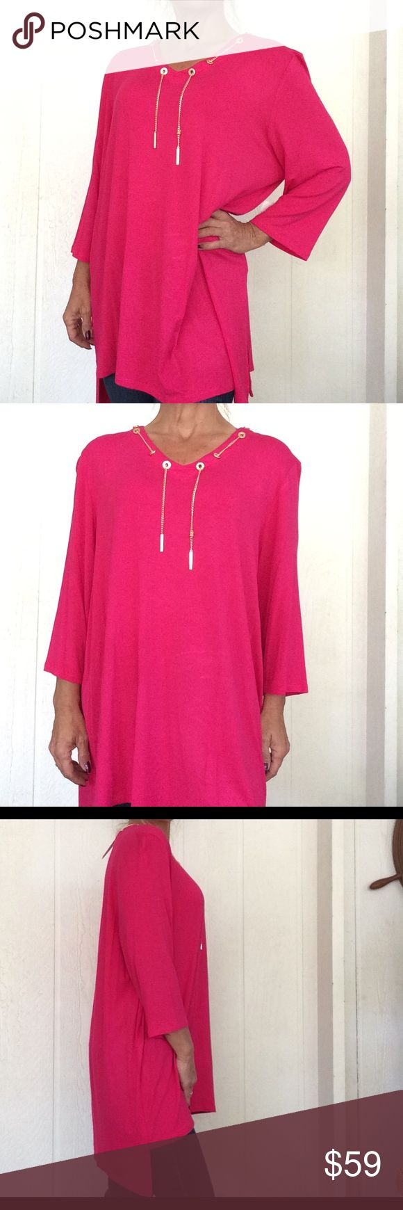 NWT CHAIN NECKLACE TUNIC NWT Stunning gold tone chain with gold bars are woven through the v neck of this gorgeous tunic. Hot pink color sets off gleaming goldtone hardware. Del Cate chain is woven all the way around neckline. Can be tied or left loose. Longer hem in back to cover derrière. 3/4 length sleeves.  Perfect with black leggings!  No flaws of any kind. T&0 Tops Tunics