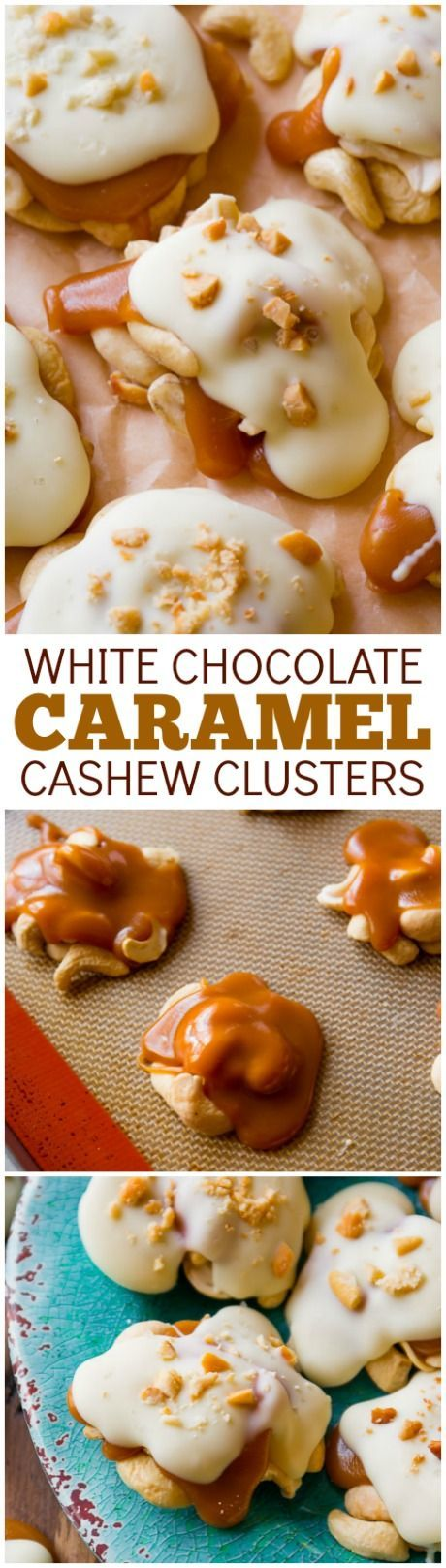 4 ingredient caramel cashew clusters! These candies are so easy and can be frozen for a simple make-ahead treat! Recipe found on http://sallysbakingaddiction.com