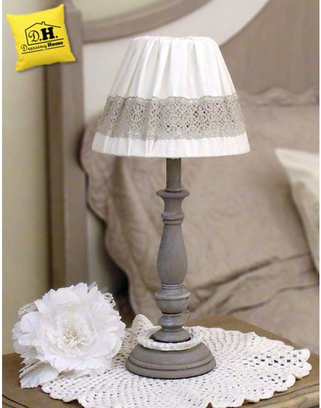Lampada Shabby Chic Angelica Home & Country Colore Bianco con Pizzo