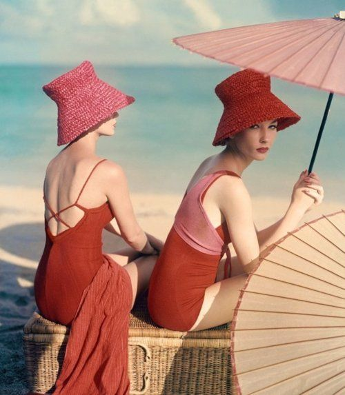 pink and redVintage Swimsuits, Fashion, John Rawlings, Vintage Bath Suits, Red Hats, At The Beach, Bath Beautiful, Beach Bunnies, Vintage Vogue