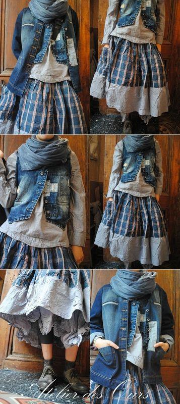 MLLE PETULA : Veste + gilet sans manche en jean, chemise fines rayures, jupe à…