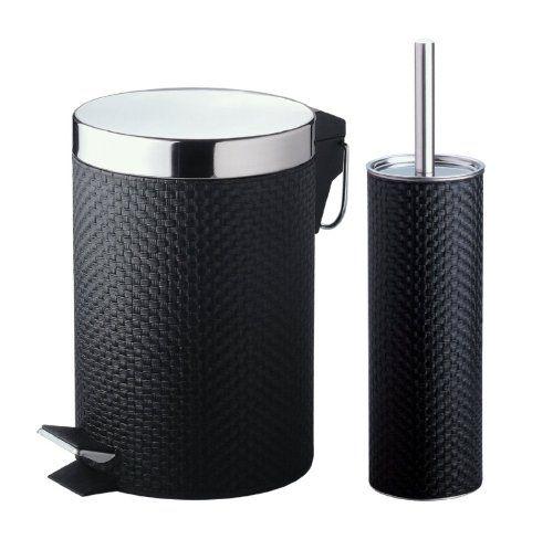 43 best bathroom images on pinterest bathroom ideas for Black bathroom bin and toilet brush