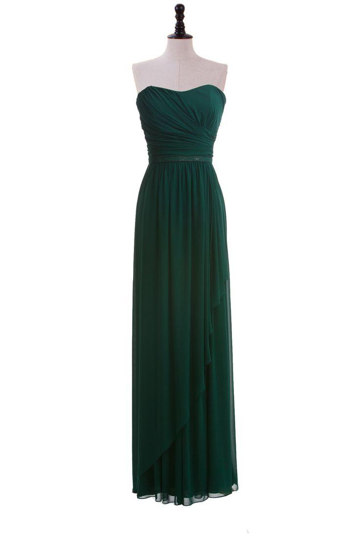 Strapless Chiffon Dress with Sequin Belt