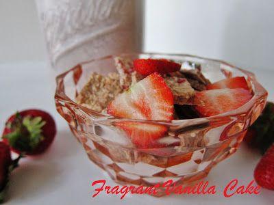 Fragrant Vanilla Cake: Raw Strawberry Vanilla Crunch Cereal with Strawberry Vanilla Hemp Milk