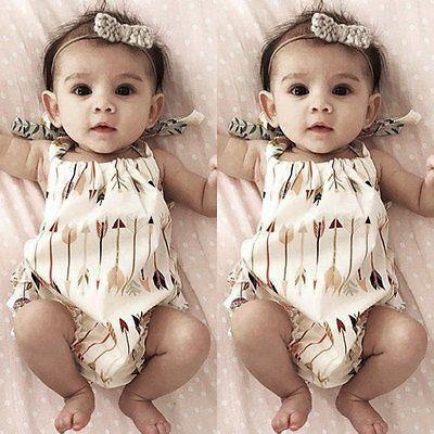Cotton Newborn Kids Baby Girls Outfits Arrows Romper Jumpsuit Bodysuit Clothes