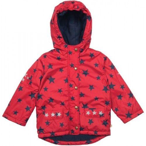 Frugi Baby-Winterjacke rot mit Sternen (wasserfest) in 86/92 verfügbar hier aber teurer, ins. 71,- Euro inkl. Versand