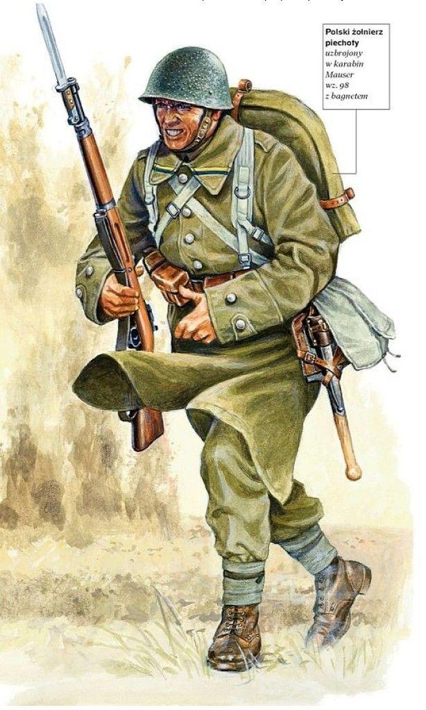 Polski żołnierz piechoty uzbrojony w karabin Mauser wz. 98 z bagnetem