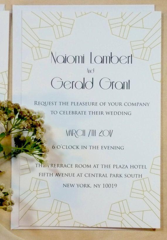 Modern Vintage wedding invitation-White, white and gold art deco wedding invitation, hollywood regency wedding invitation