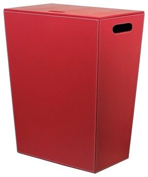 Ecopelle 2462 Leather Laundry Hamper, Red contemporary-hampers