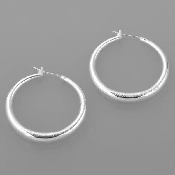 Silver hoops. Simplistic and stunning