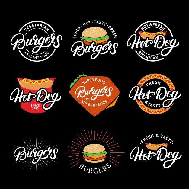 Set Of Burgers And Hotdog Hand Written L Premium Vector Freepik Vector Logo Vintage Label Badge In 2020 Hot Dogs Healthy Dog Food Recipes Logos
