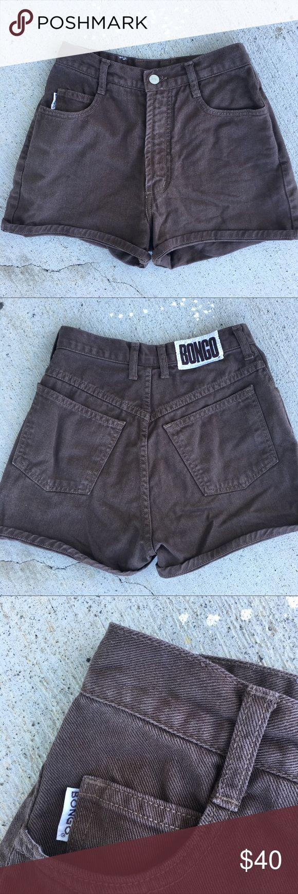 """Vintage Bongo Shorts Sz 25 Brand Bongo 90's Vintage  Color Chocolate Brown  Waist 12"""" Across  Rise 13""""  Hips 19""""  Inseam 2.5""""  Style High Waisted Mom Shorts  #vintage #bongo #shorts #90s #highwaisted #highrise #highwaistjeans #highwaistshorts #momshorts #momjeans #posh BONGO Shorts Jean Shorts"""