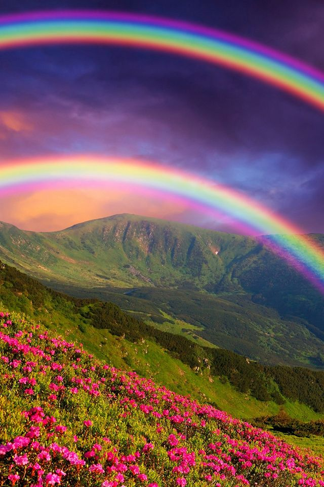 Double Rainbow Wallpaper. rainbow landscape iphone