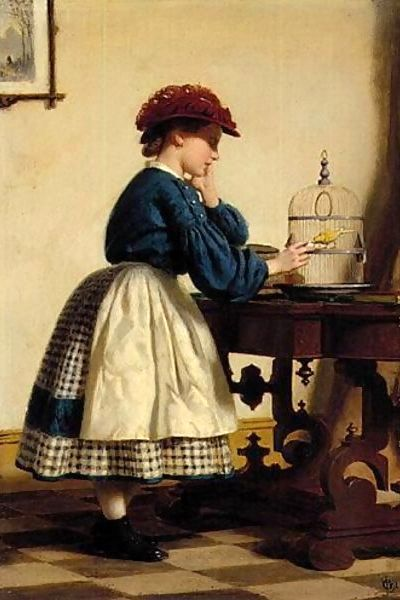 Girl With Canary, Seymour Joseph Guy (1824 - 1910, English-born American), I AM A CHILD-children in art history-blog